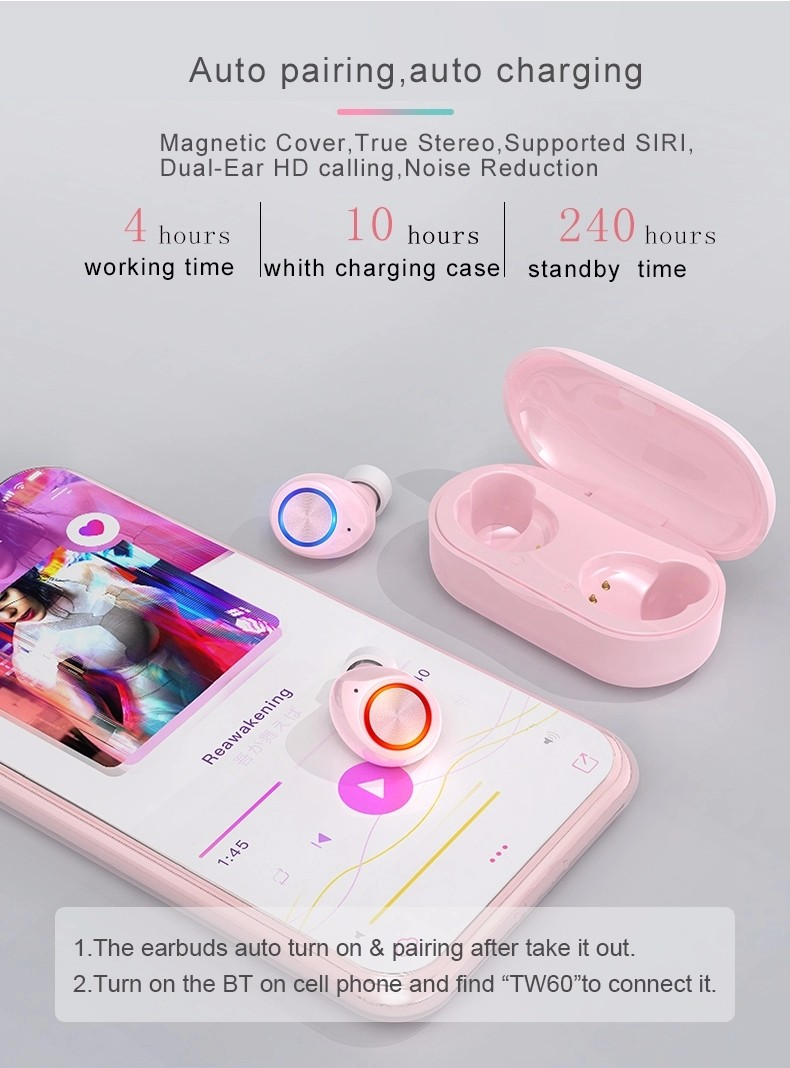 product-BT 50 New TW60 Macaron True Stereo Wireless Headphone Bluetooths Headset TWS Earphones For G