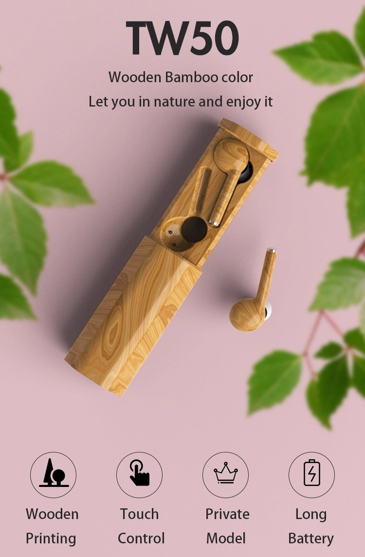 product-Bodio Electronic-Fast Dispatch Earphone Tw50 Bamboo Headphone Earphone Electronics Wireless