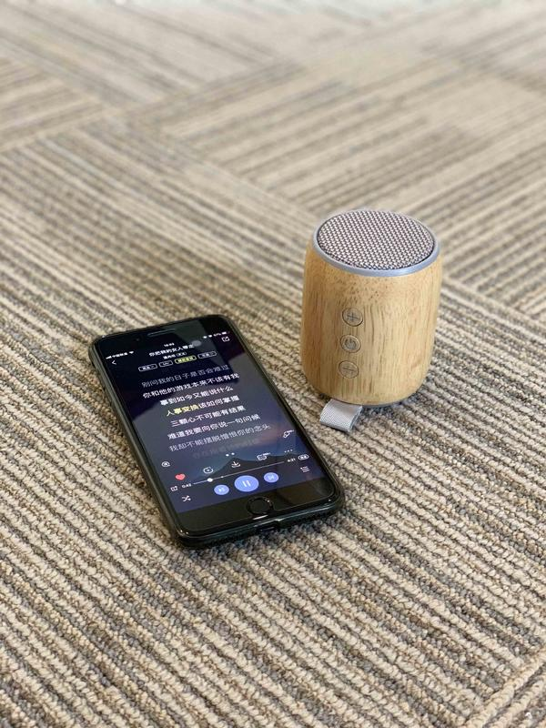TWS Mini Portable Bluetooth speaker cylinder combine with wooden and cloth shell